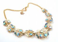 Vintage Enamel And Aurora Borealis Rhinestone Set Floral Design Necklace.